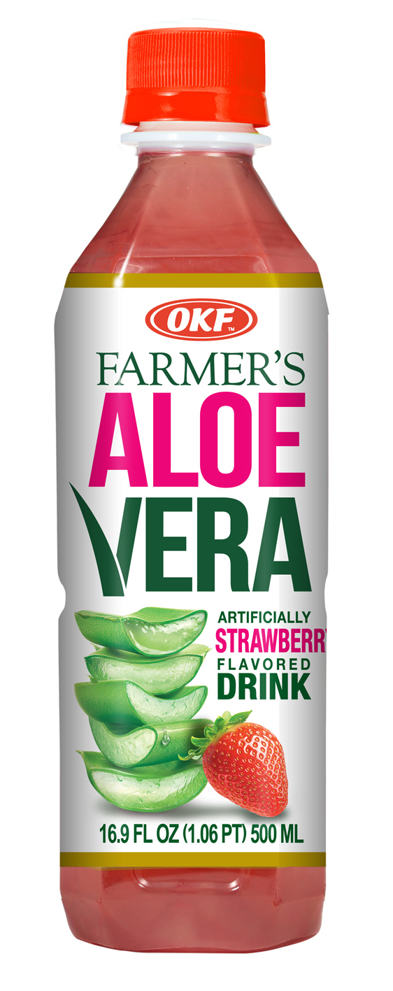 OKF Farmer's Aloe Vera Drink Strawberry 16.9 Fluid Ounce ...