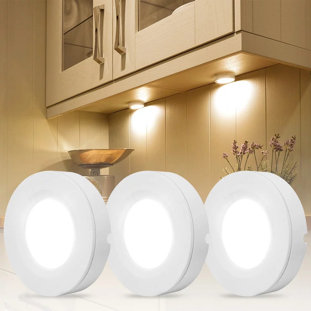 led under cabinet lighting kit 2watt warm white led puck lights with ul listed adapter for closet under counter lighting kitchen cabinet surface