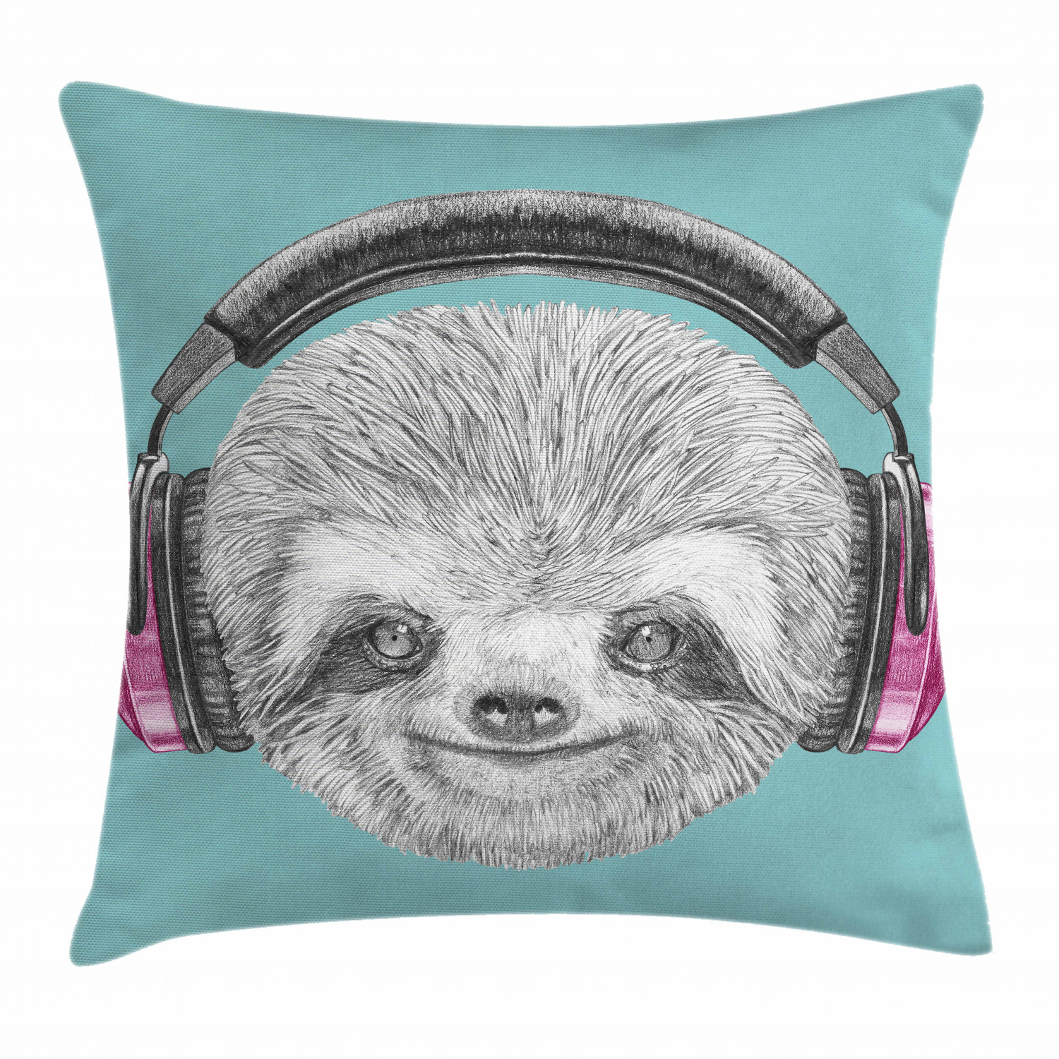 sloth throw pillow cushion cover dj sloth portrait with headphones funny modern character cool cute smiling decorative square accent pillow case 20