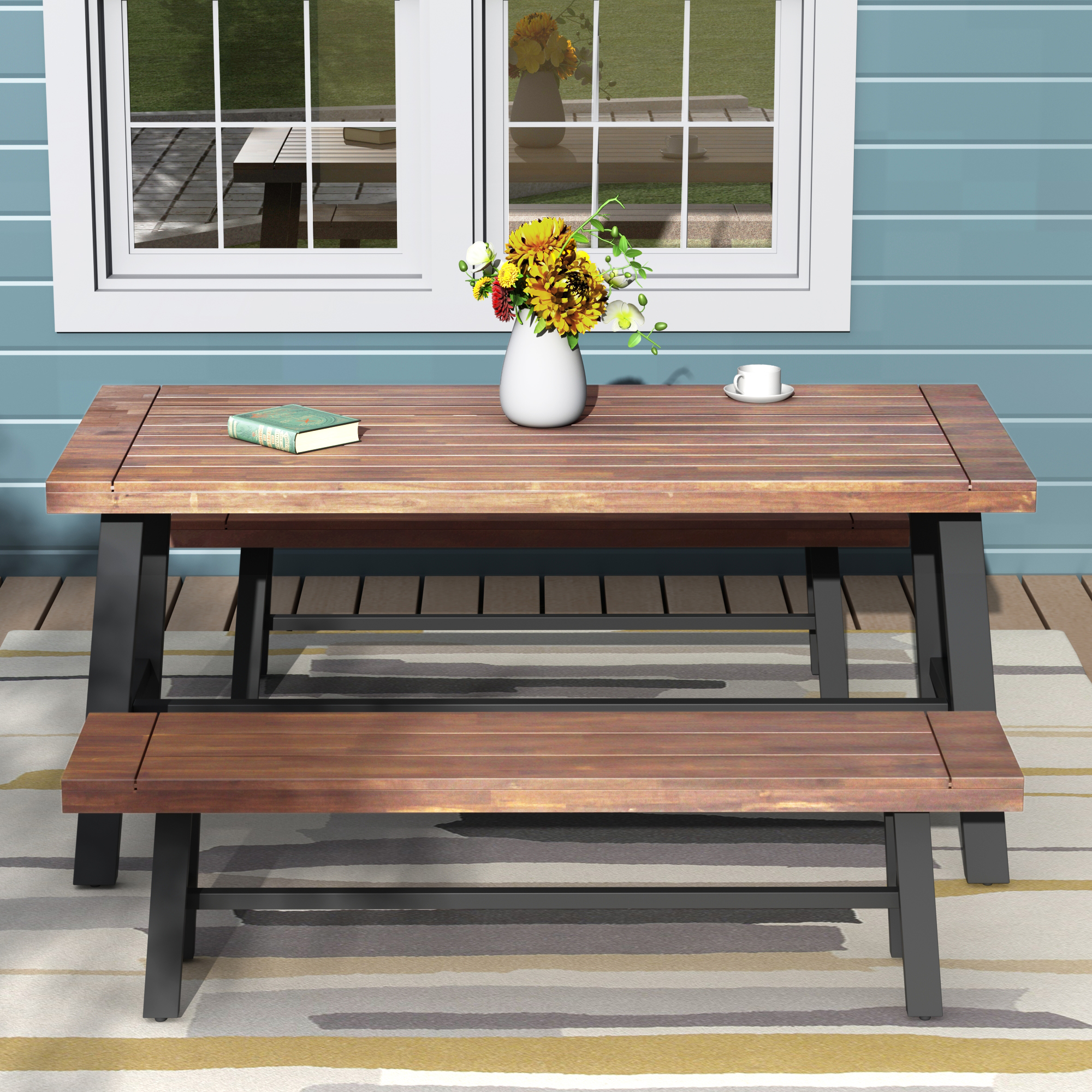 3 piece patio conversation set urhomepro rustic farmhouse outdoor table and bench set picnic table set with wooden finish metal frame outdoor
