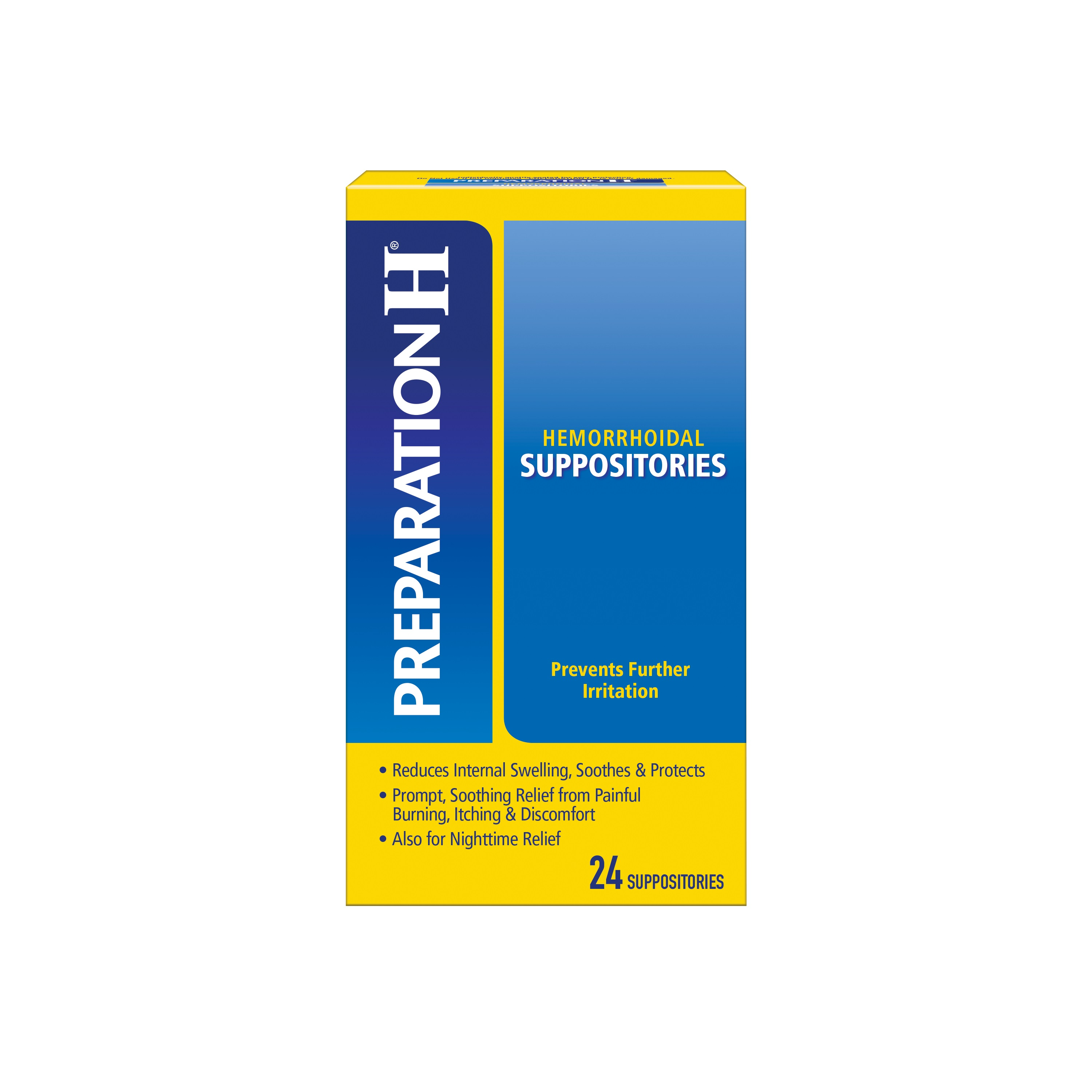 Preparation H Hemorrhoid Symptom Treatment Suppositories, Burning, Itching and Discomfort Relief 24 Count