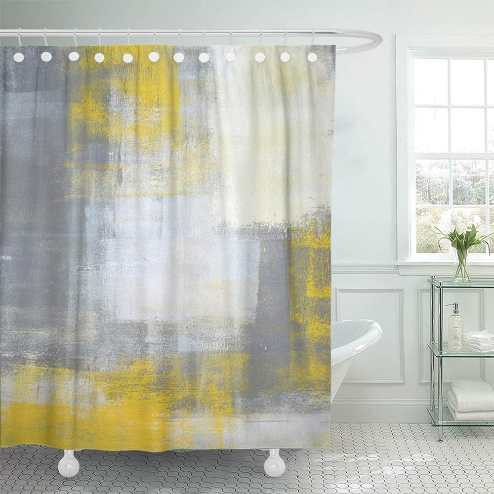 pknmt gray modern grey and yellow abstract painting white contemporary acrylic rectangle bathroom shower curtain 66x72 inch