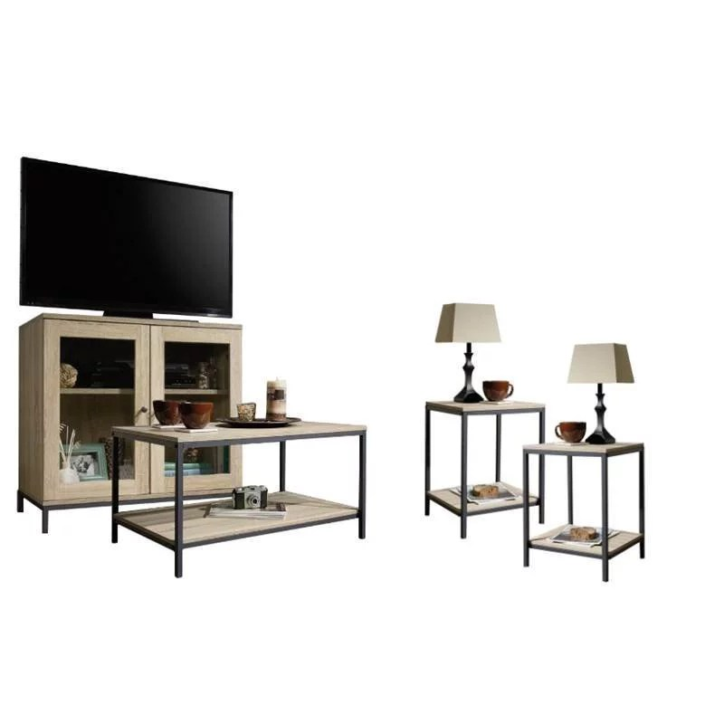 home square 4 piece living room set with accent chest storage tv stand coffee table and set of 2 end tables in charter oak walmart com