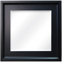 Canopy Square Beveled Glass Wall Mirror, Matte Black ...
