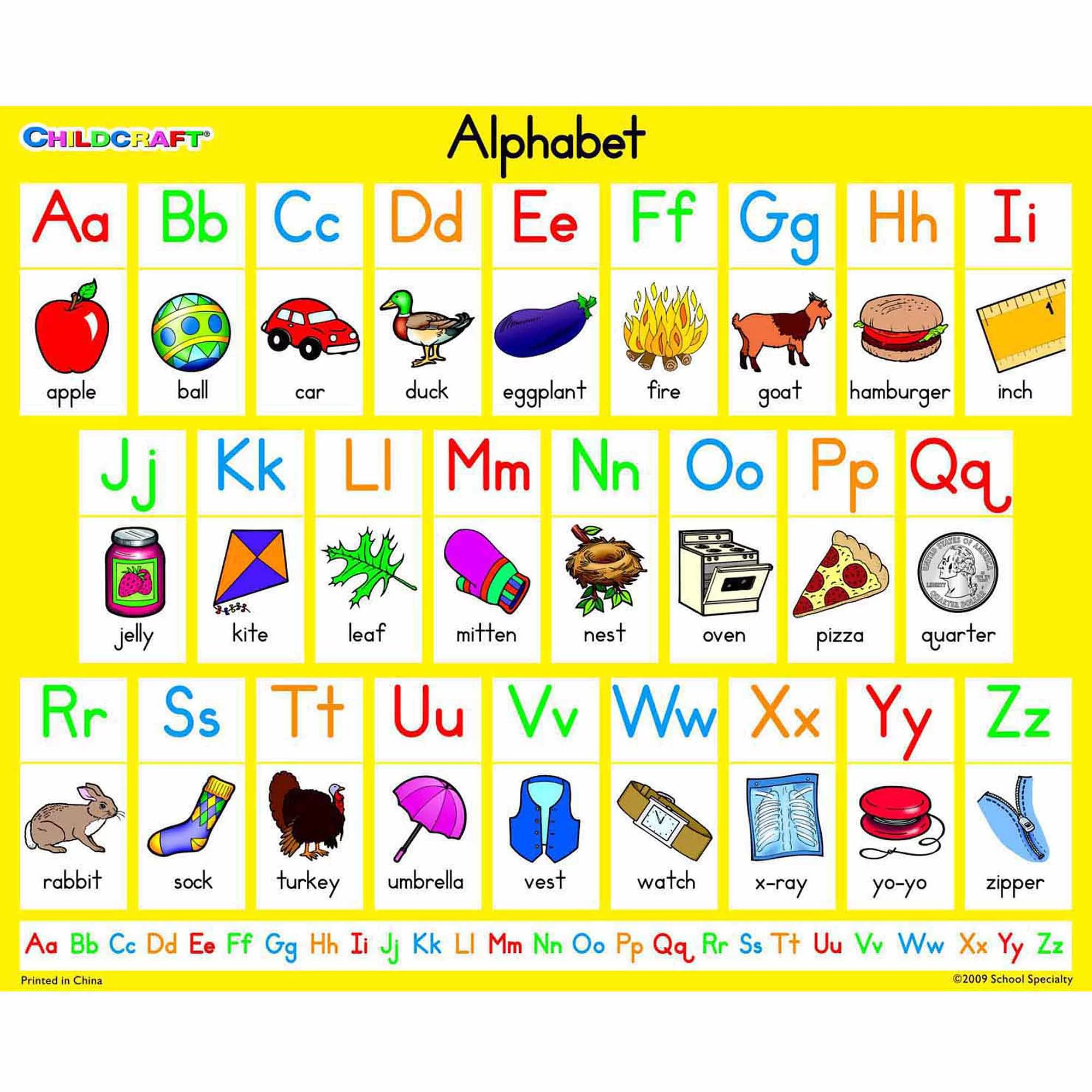 Childcraft Literacy Charts English Alphabet 9 X 11 Set