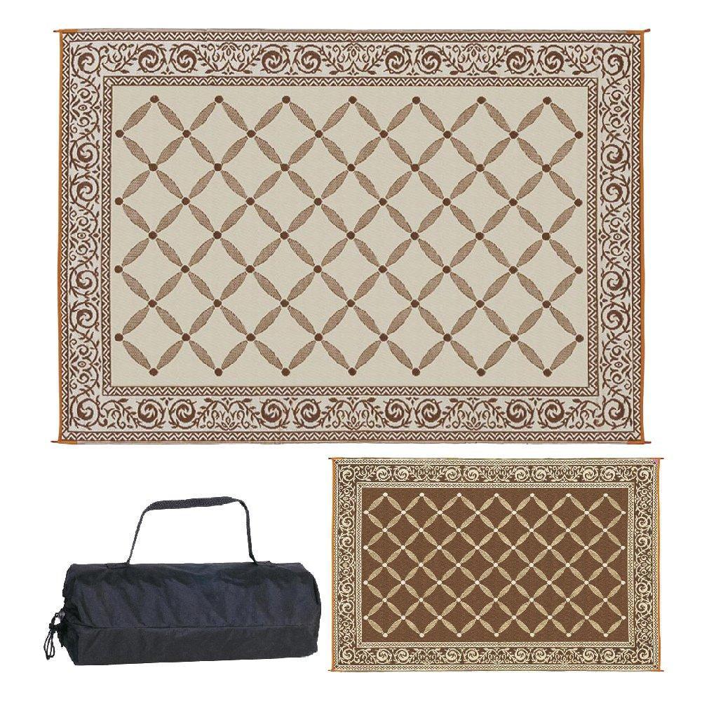 reversible mats 119127 outdoor patio 9 feet x 12 feet brown beige rv camping mat