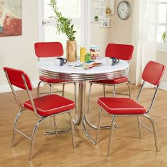 Red Kitchen Chairs Cabinet Boxes Retro Dining Set Of 2 Walmart Com