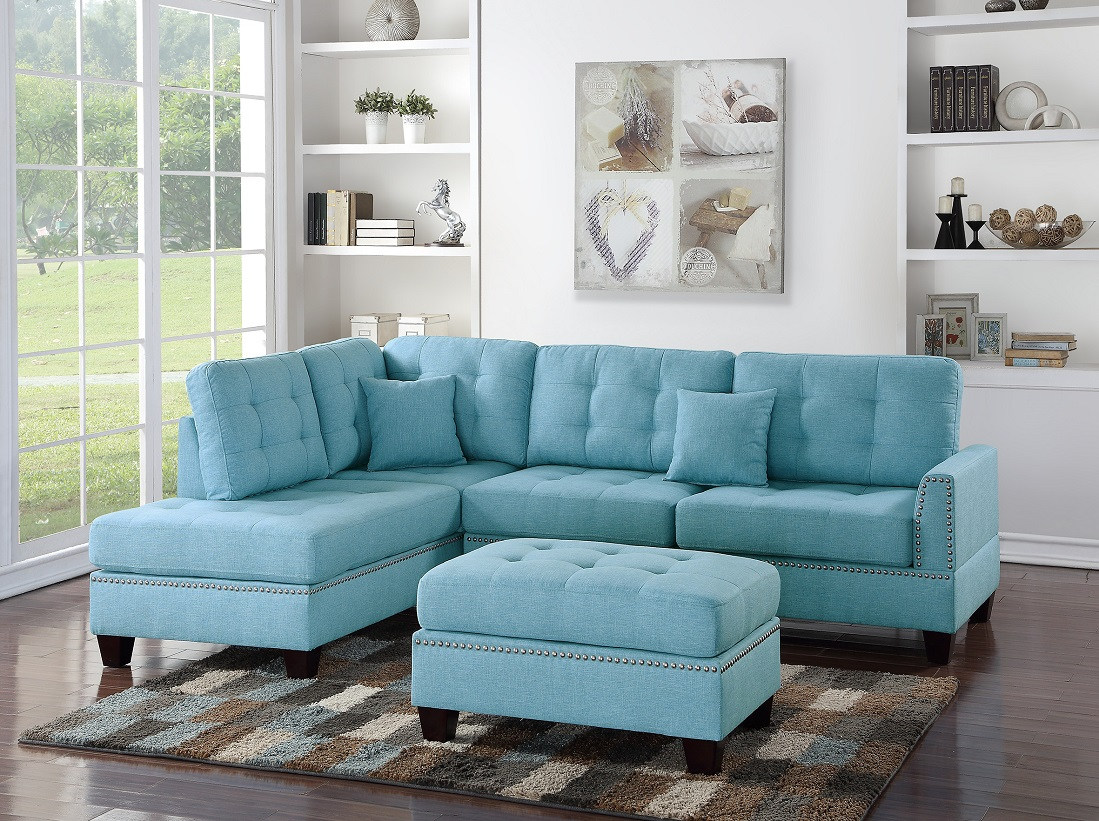 3 piece sectional sofa reversible chaise ottoman blue grey polyfiber sectionals tufted couch pillows modern