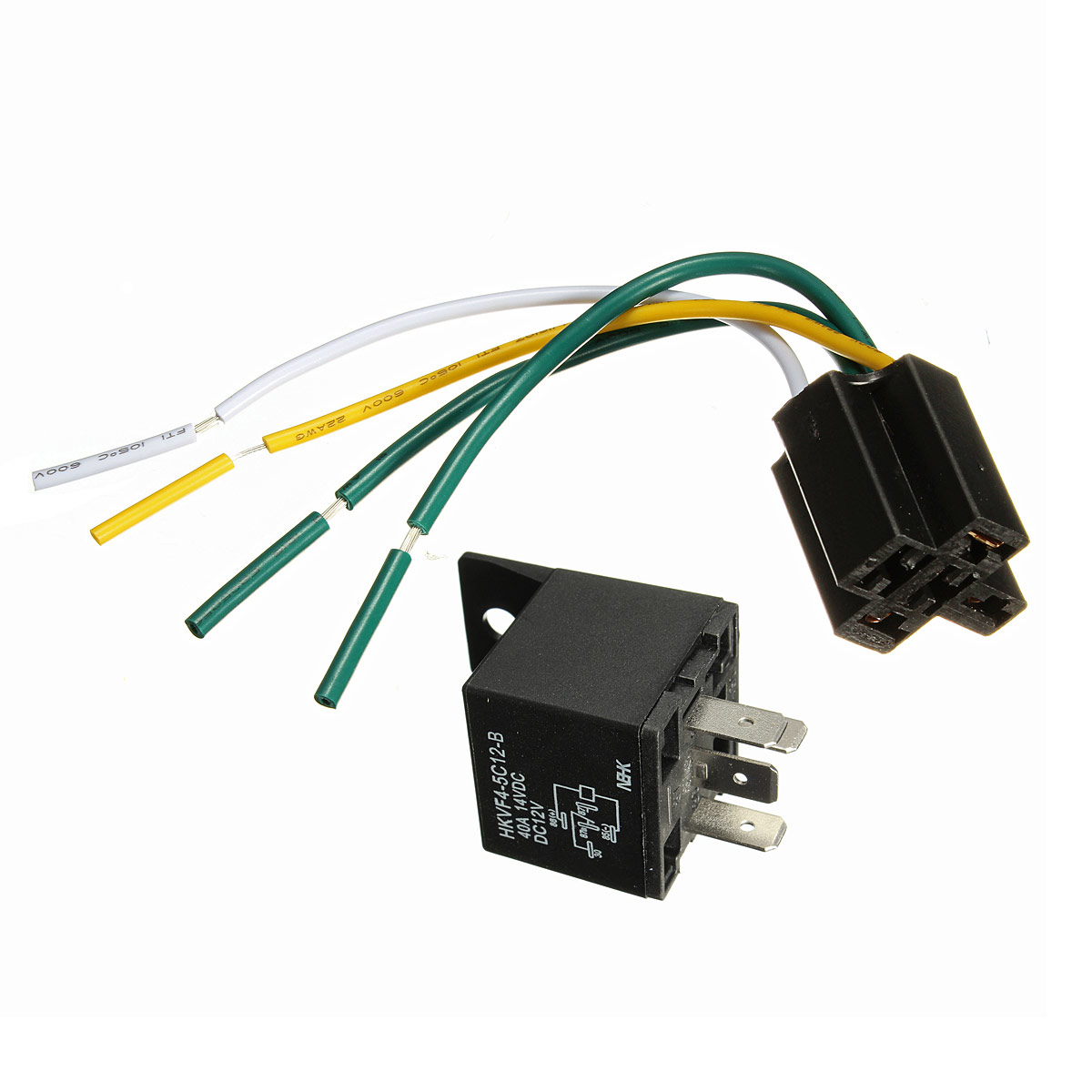 hight resolution of car auto dc 12v 30 40a automotive 4 pin 4 wire relay socket 30amp 40amp walmart com