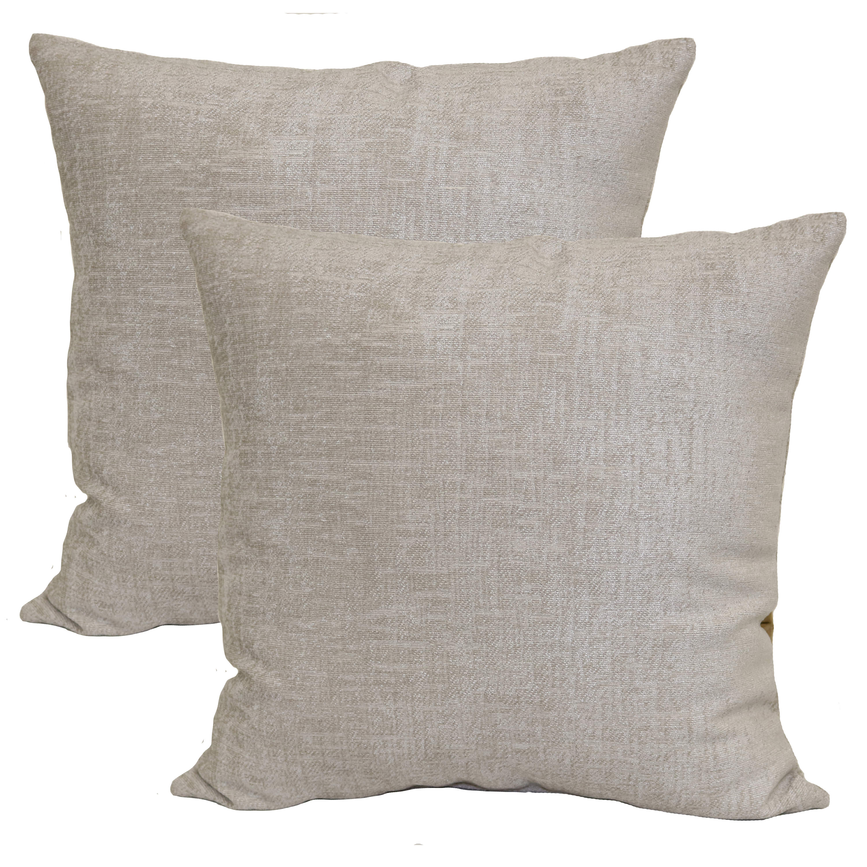 mainstays chenille decorative square throw pillow 18 x 18 gray pumice 2 pack