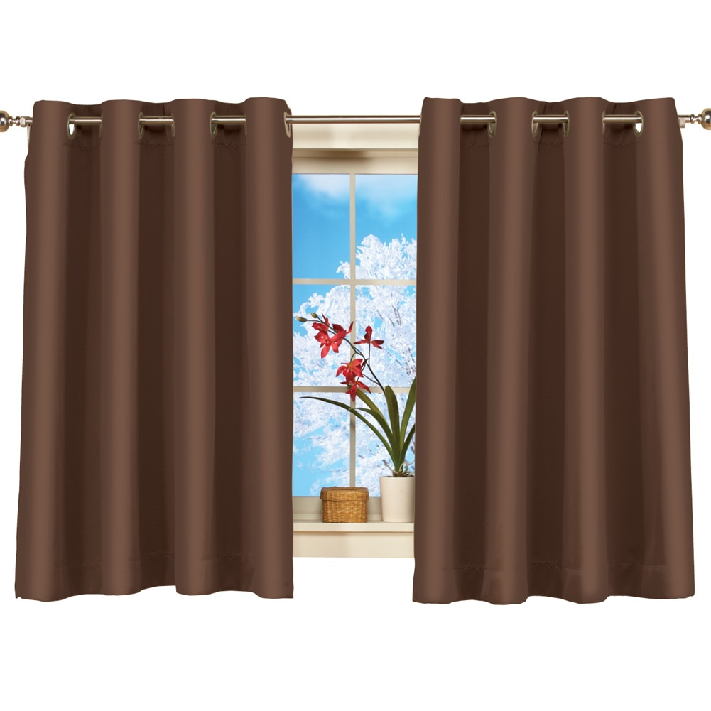 Short Blackout Curtain Panel W Easy Open Close Amp Grommet Top 56 X 45 Chocolate