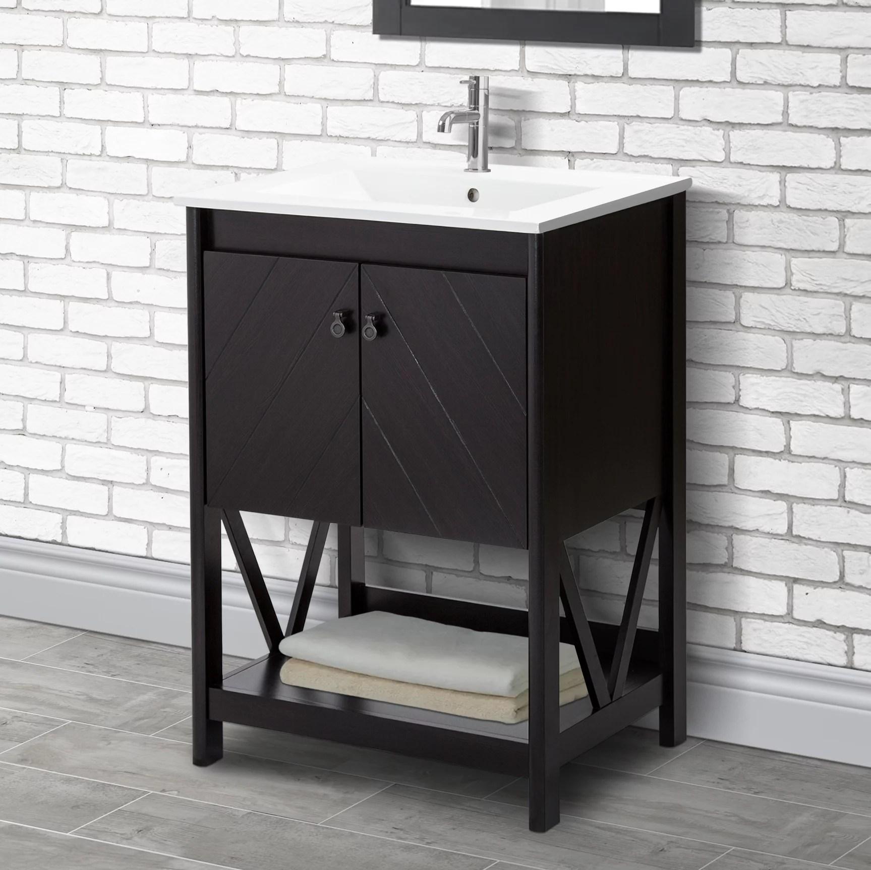 24 Bathroom Vanity Set Espresso Finish Walmart Com Walmart Com