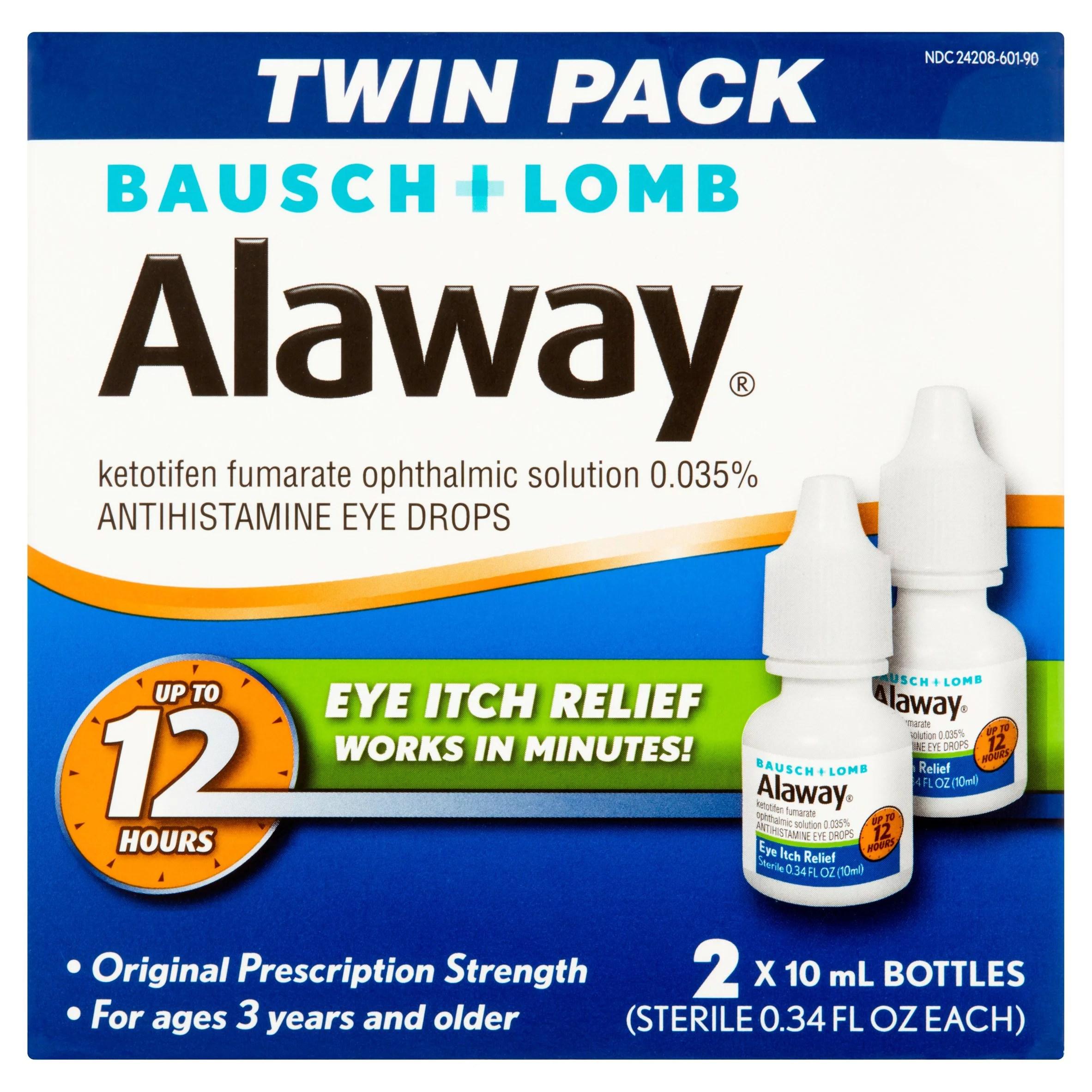 Bausch + Lomb Alaway Antihistamine Eye Drops Twin Pack 0 ...