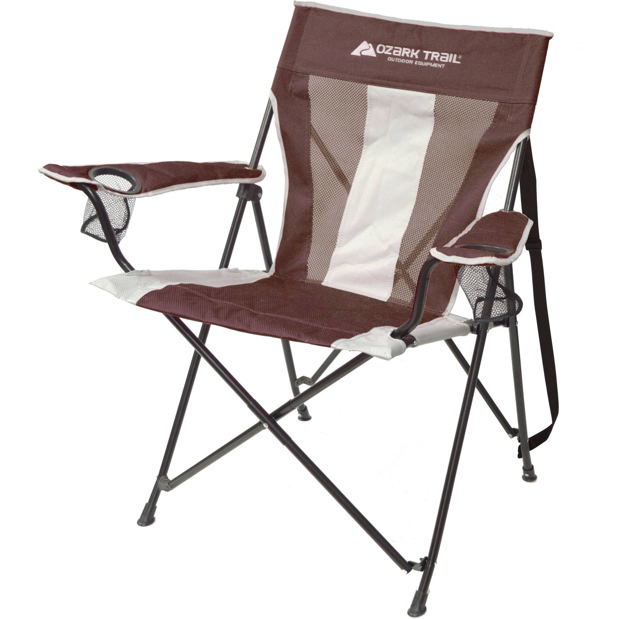 ozark trail oversized mesh chair zodiac design tension camp chair, brown with 2 cup holders - walmart.com