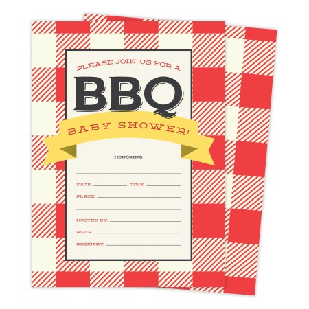 Bbq 2 Cookout Baby Shower Invitations Invite Cards 25 Count With Envelopes Seal Stickers Vinyl Boy