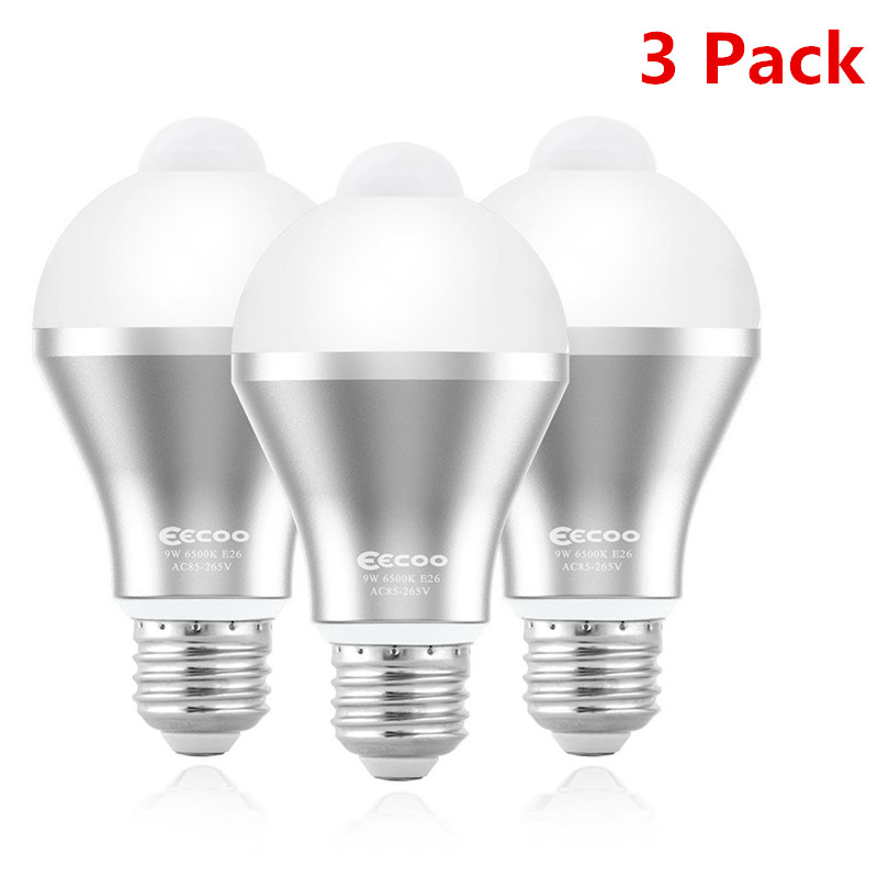 3 Pack 9w Motion Activated Led Bulb Motion Sensor Light Bulb E26 E27 Cold White Motion Detection Outdoor Indoor Led Night Light Bulbs For Front Door Garage Basement Hallway Stairs Walmart Com