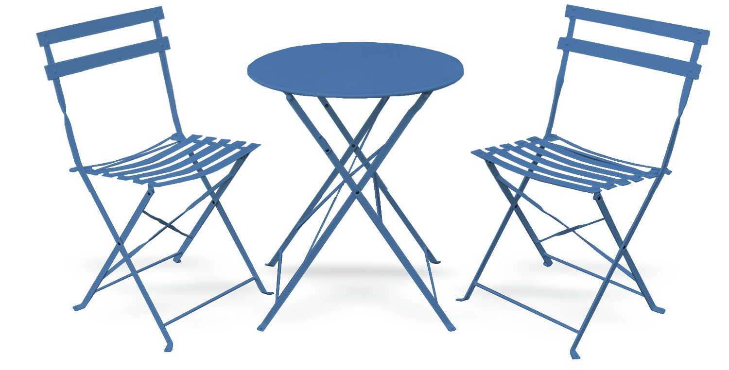 pyramid home decor 3 piece outdoor bistro set foldable outdoor chairs set of 2 and folding bistro table premium steel small patio table and