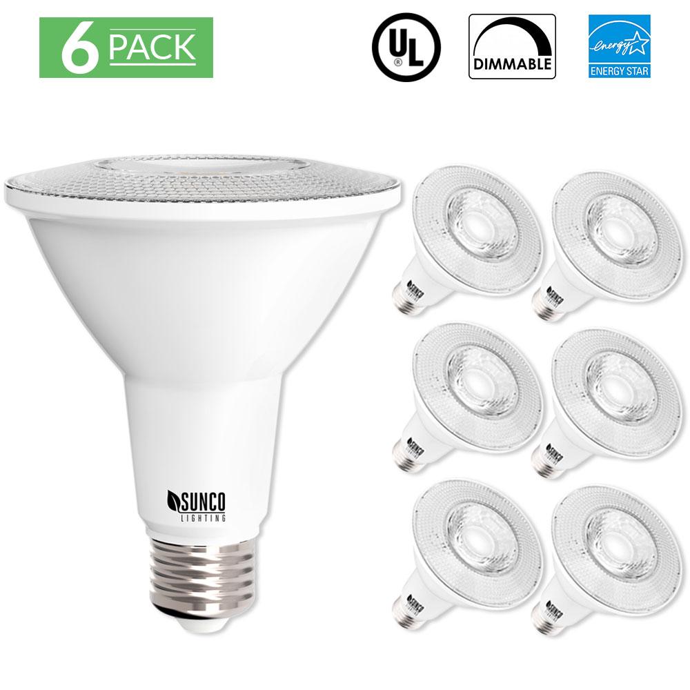 sunco lighting 6 pack par30 led light bulb 11 watt 75w equivalent 3000k kelvin warm white 850 lumens 25 000 hours dimmable indoor outdoor