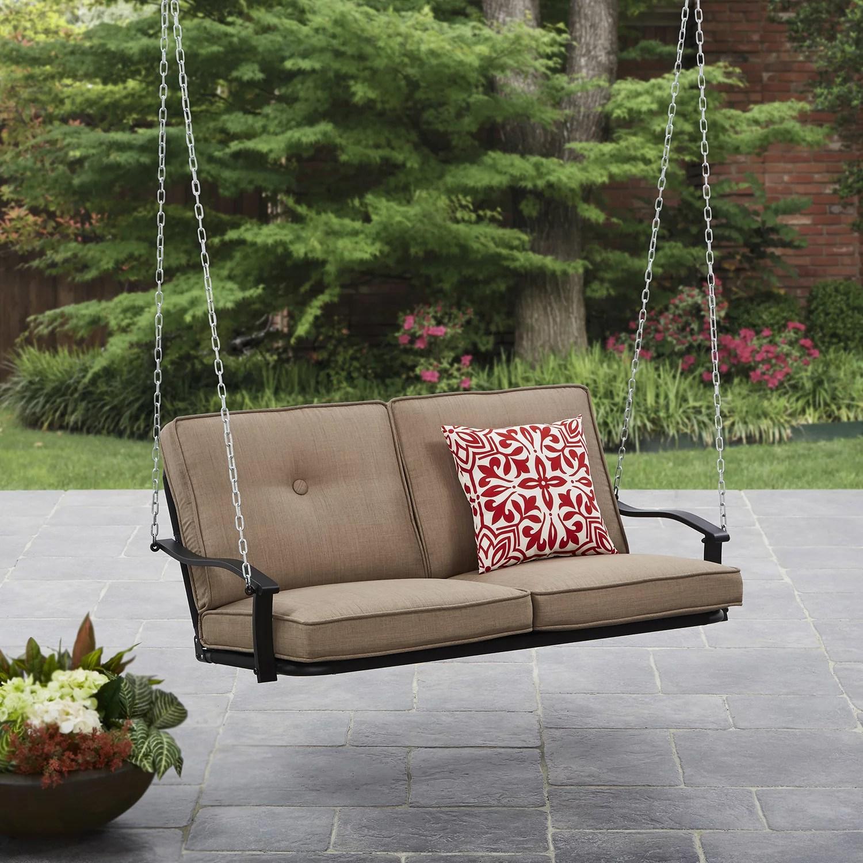mainstays belden park outdoor 2 seat cushioned patio swing beige