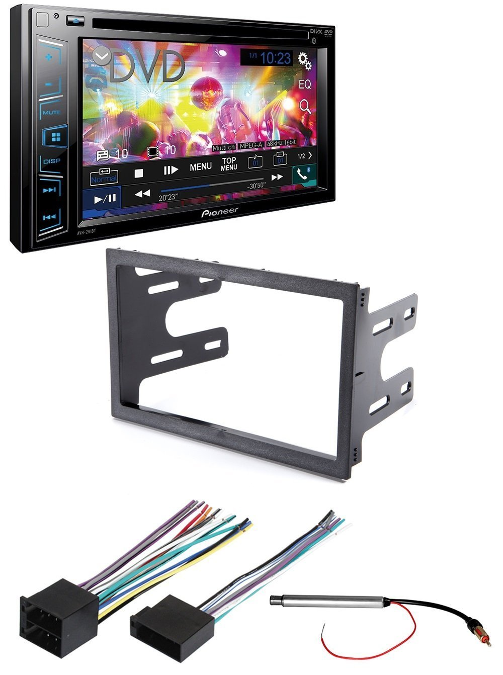 hight resolution of pioneer avh 290bt double din bluetooth car dash installation mounting kit wiring harness radio antenna adapter for select volkswagen vehicles walmart