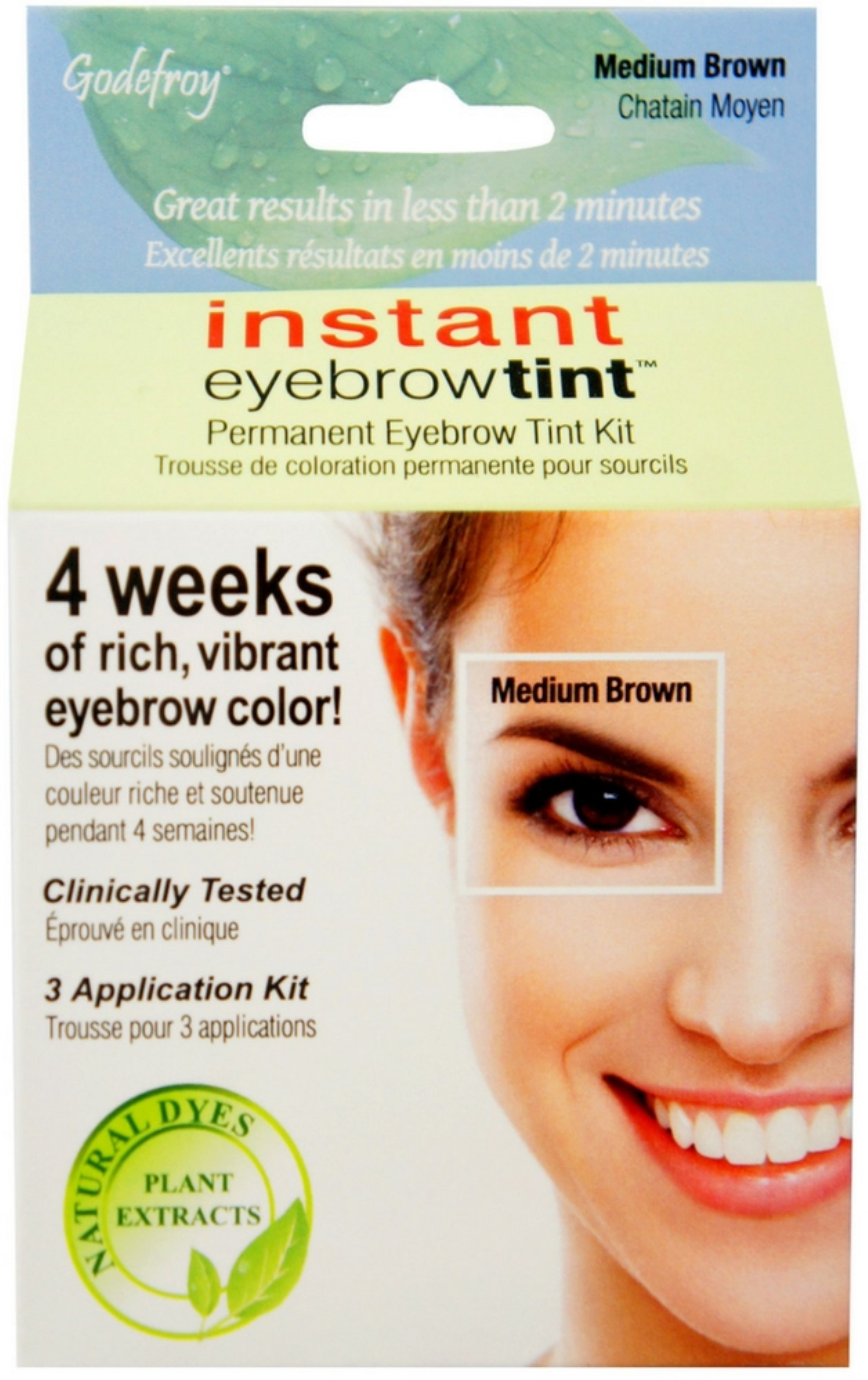 Eyebrow Tinting Kit Walmart : eyebrow, tinting, walmart, Godefroy, Instant, Eyebrow, Natural, Plant, Based, Dyes,, Medium, Brown, Walmart.com