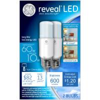 GE Reveal 60W Equivalent (Uses 10W) LED Bright Stik A19 ...