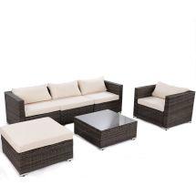 gymax 6pc cushioned patio set rattan