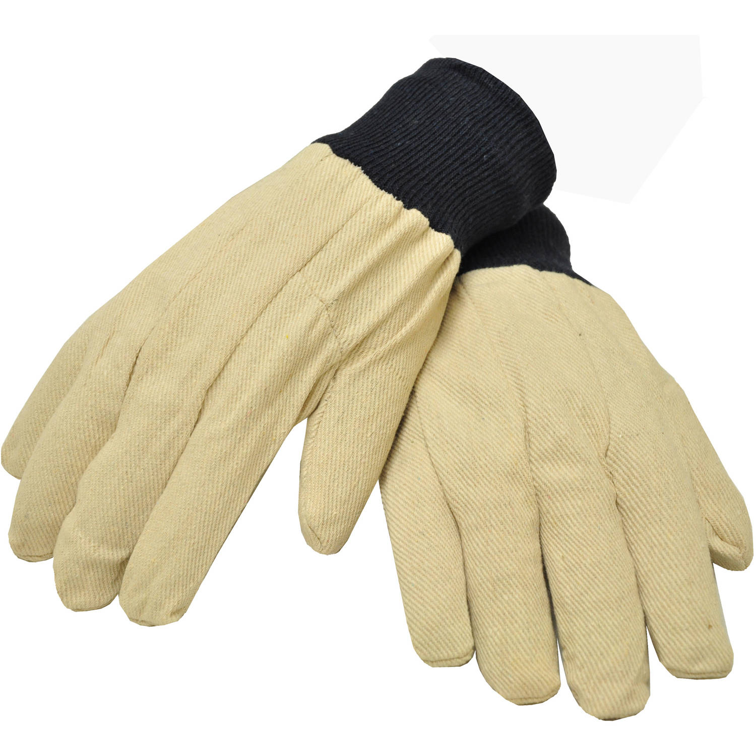 G & F Men's Glove Cotton Canvas, Large, White, 12 Pairs