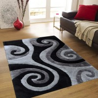 Allstar Grey Shaggy Area Rug with 3D Black Spiral Design ...