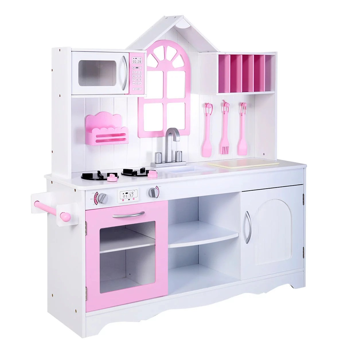 kids wooden kitchen aid stand mixer cover costway wood toy cooking pretend play set toddler playset walmart com