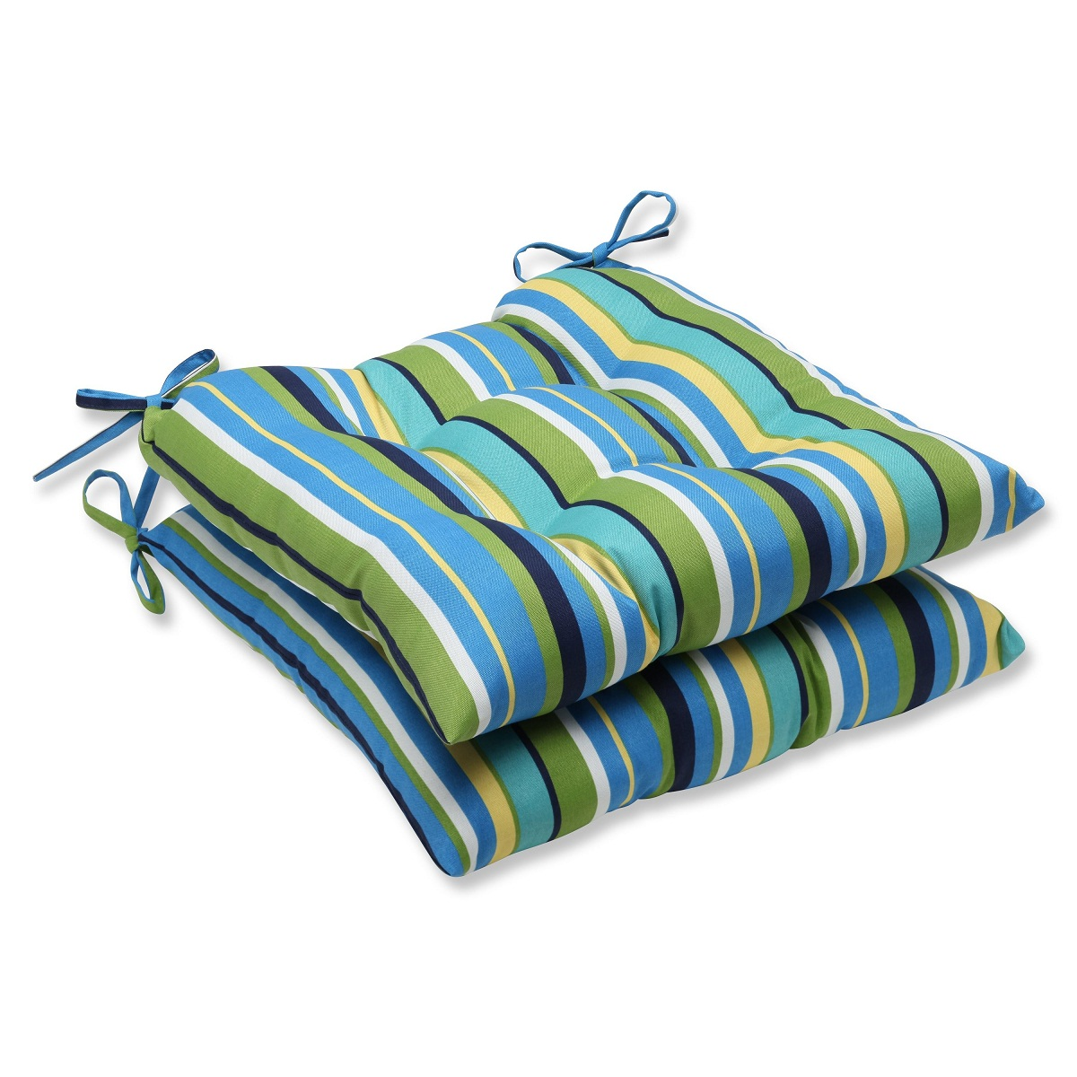 set of 2 strisce luminose blue and yellow striped outdoor patio chair cushions 19