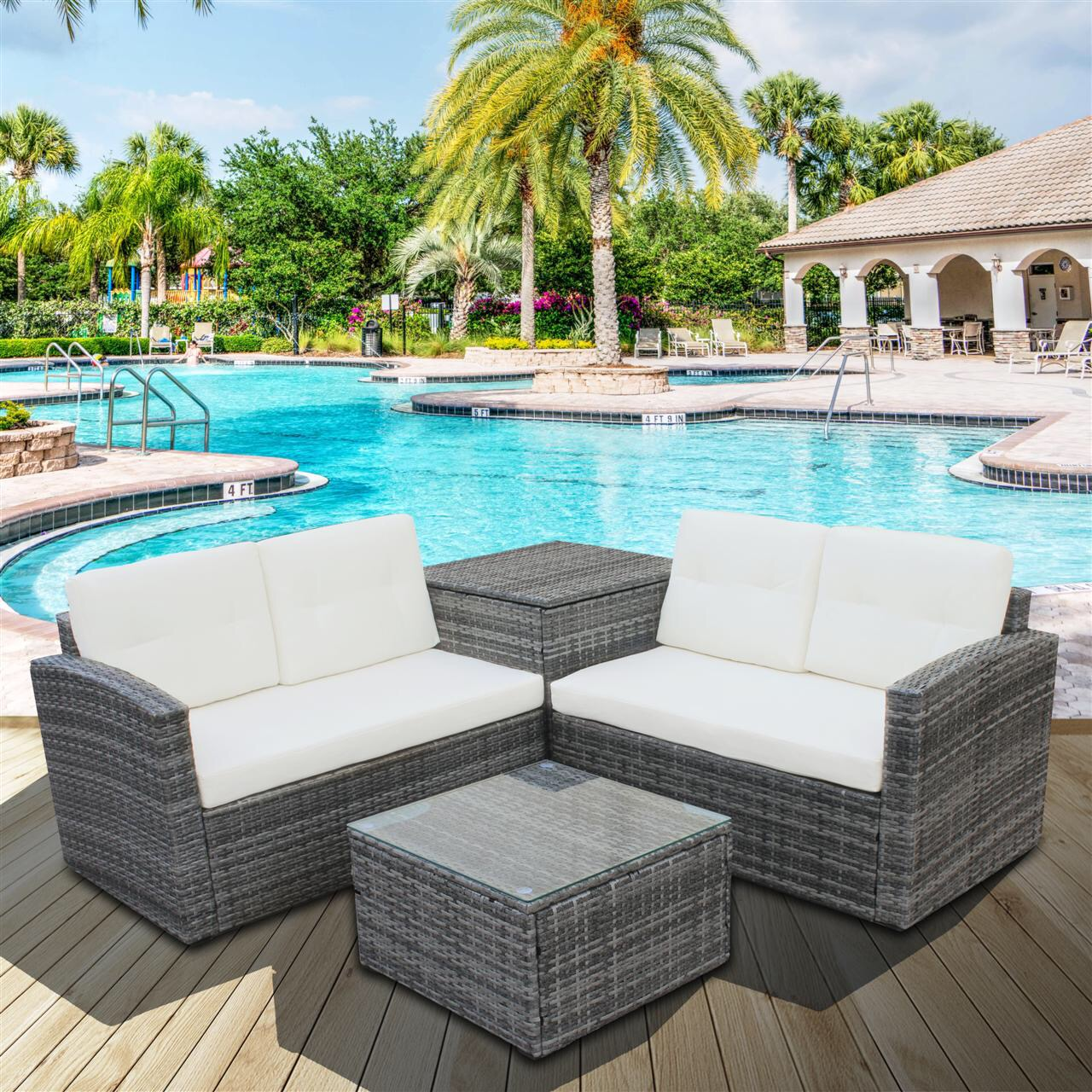https www walmart com ip clearance 4 piece outdoor patio furniture set 2 rattan chairs glass table storage cabinet all weather rectangle sofa wicker set cushions backyard por 982364919