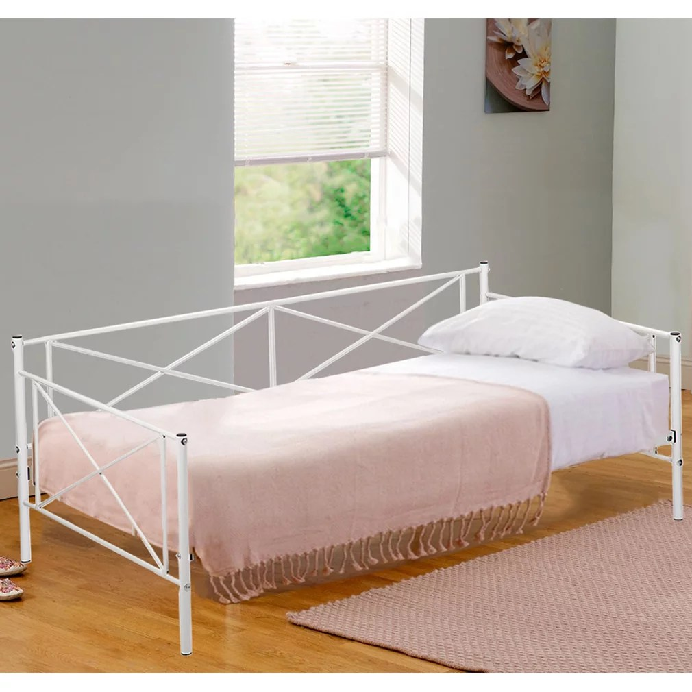 Daybed Frame Metal Platform Bed Heavy Duty Steel Slats