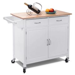 Rolling Kitchen Cabinet Diy Doors Costway Cart Island Wood Top Storage Trolley Utility Modern Walmart Com