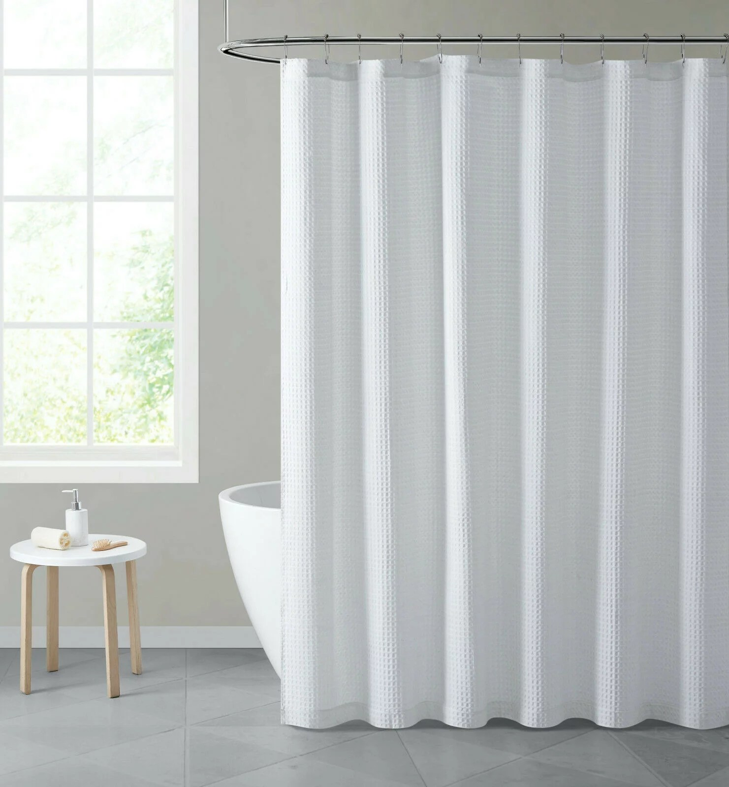 hotel collection luxurious waffle weave bohemian white fabric shower curtain