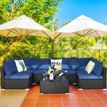 costway 7pcs patio rattan sofa