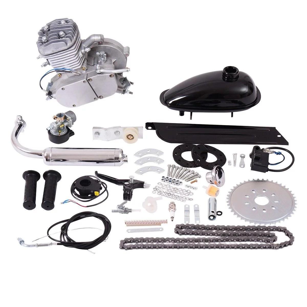 hight resolution of costway 80cc 2 stroke bicycle gasoline engine motor kit diy motorized bike silver walmart com
