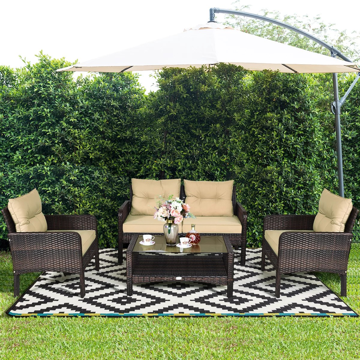 costway 4 pcs outdoor patio rattan wicker furniture set sofa loveseat with cushions