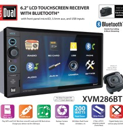 dual electronics xvm286bt 6 2 inch led backlit lcd multimedia touch screen double din car stereo with built in bluetooth usb microsd ports steering wheel  [ 3108 x 3056 Pixel ]