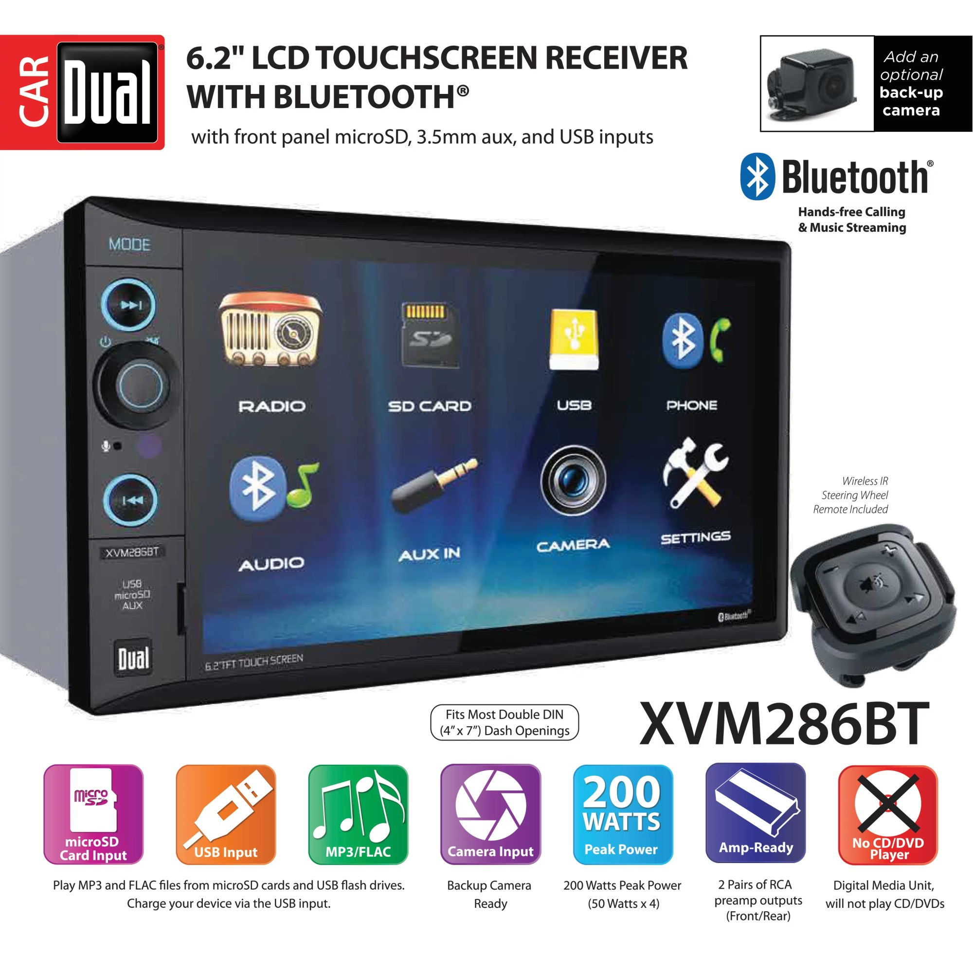 hight resolution of dual electronics xvm286bt 6 2 inch led backlit lcd multimedia touch screen double din car stereo with built in bluetooth usb microsd ports steering wheel