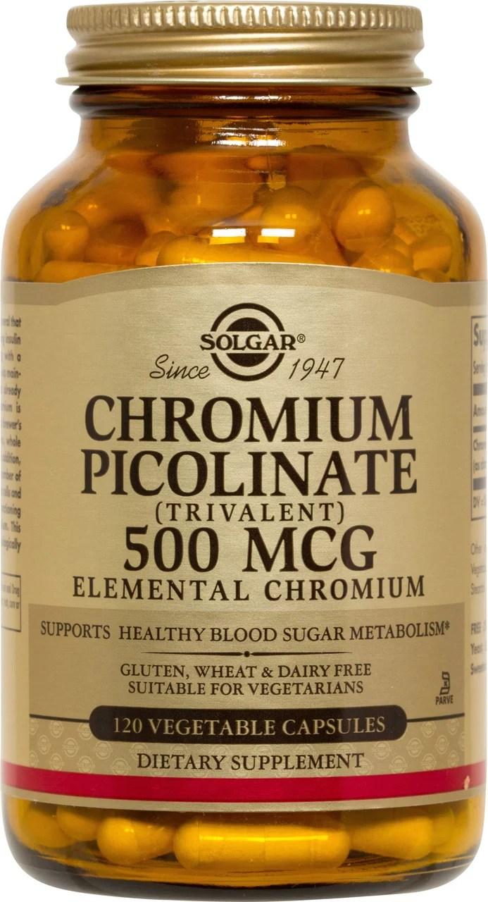 Solgar Chromium Picolinate 500 mcg Vegetable Capsules 120 ...