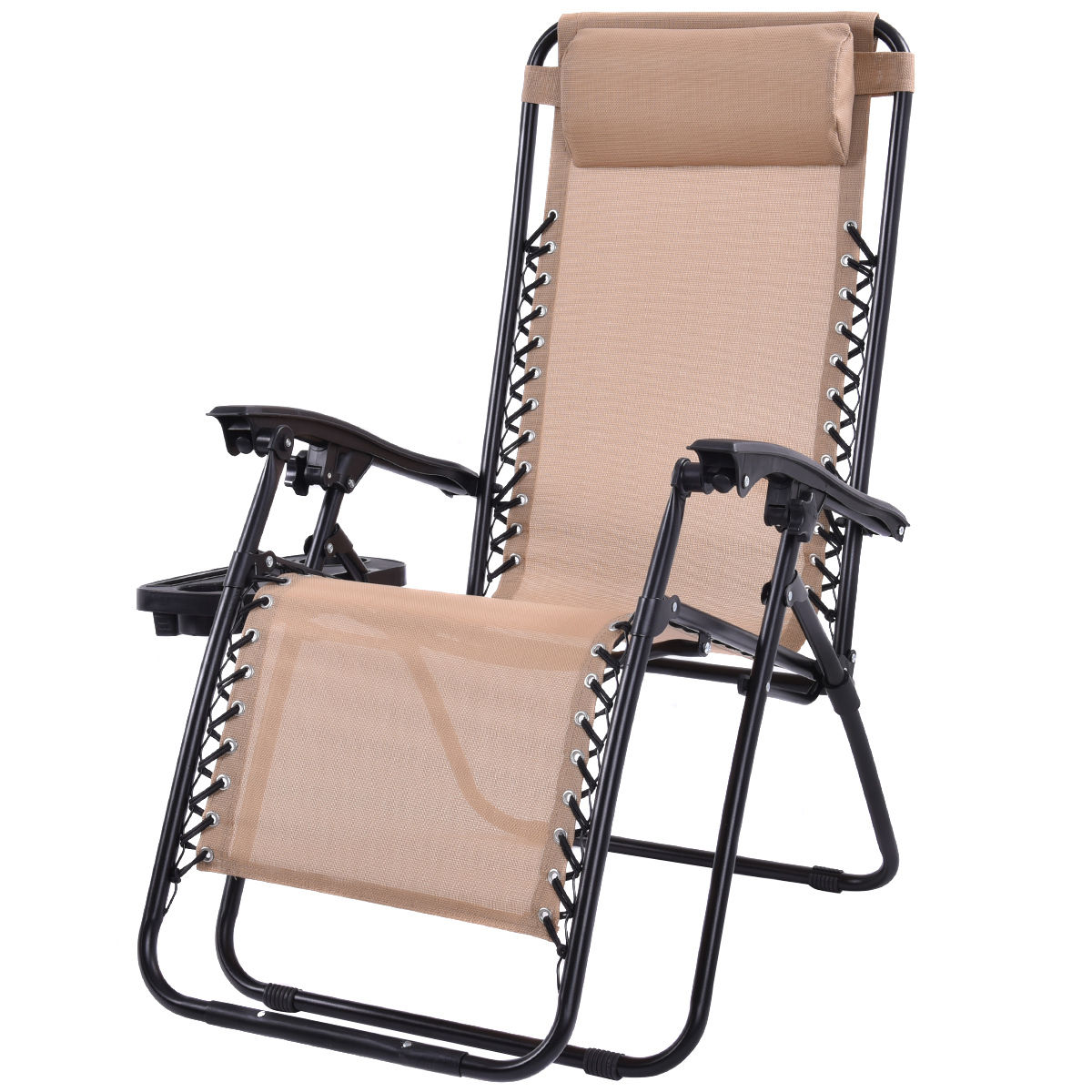 ghp pack of 2 beige zero gravity folding recliner chaise lounge chairs w cup holder