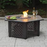 Hex LP Gas Fire Pit Bowl with Slate Tile Mantel - Walmart.com
