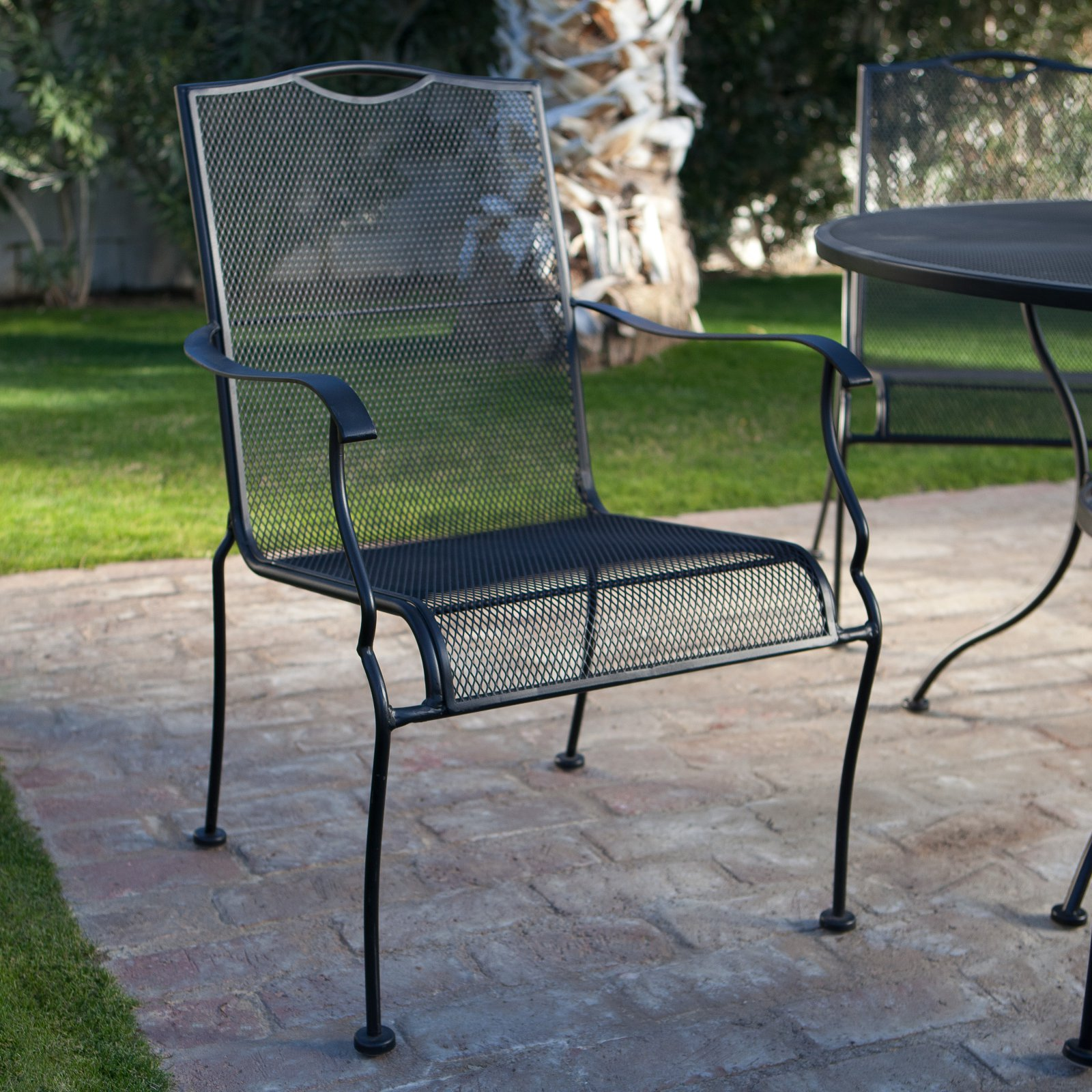 wrought iron dining chairs purchase online belham living stanton chair by woodard set of 4 textured black walmart com