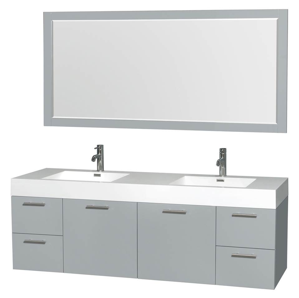 wyndham collection amare 72 inch double bathroom vanity in dove gray acrylic resin countertop integrated sinks and 70 inch mirror