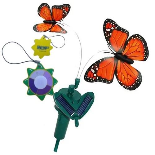 hqrp twin solar powered orange monarch flying butterflies for garden plants flowers patio garden landscape decor hqrp uv chain uv health meter
