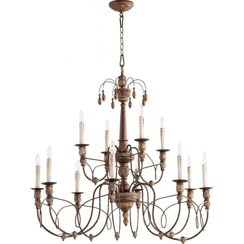quorum salento 12 light chandelier in vintage copper