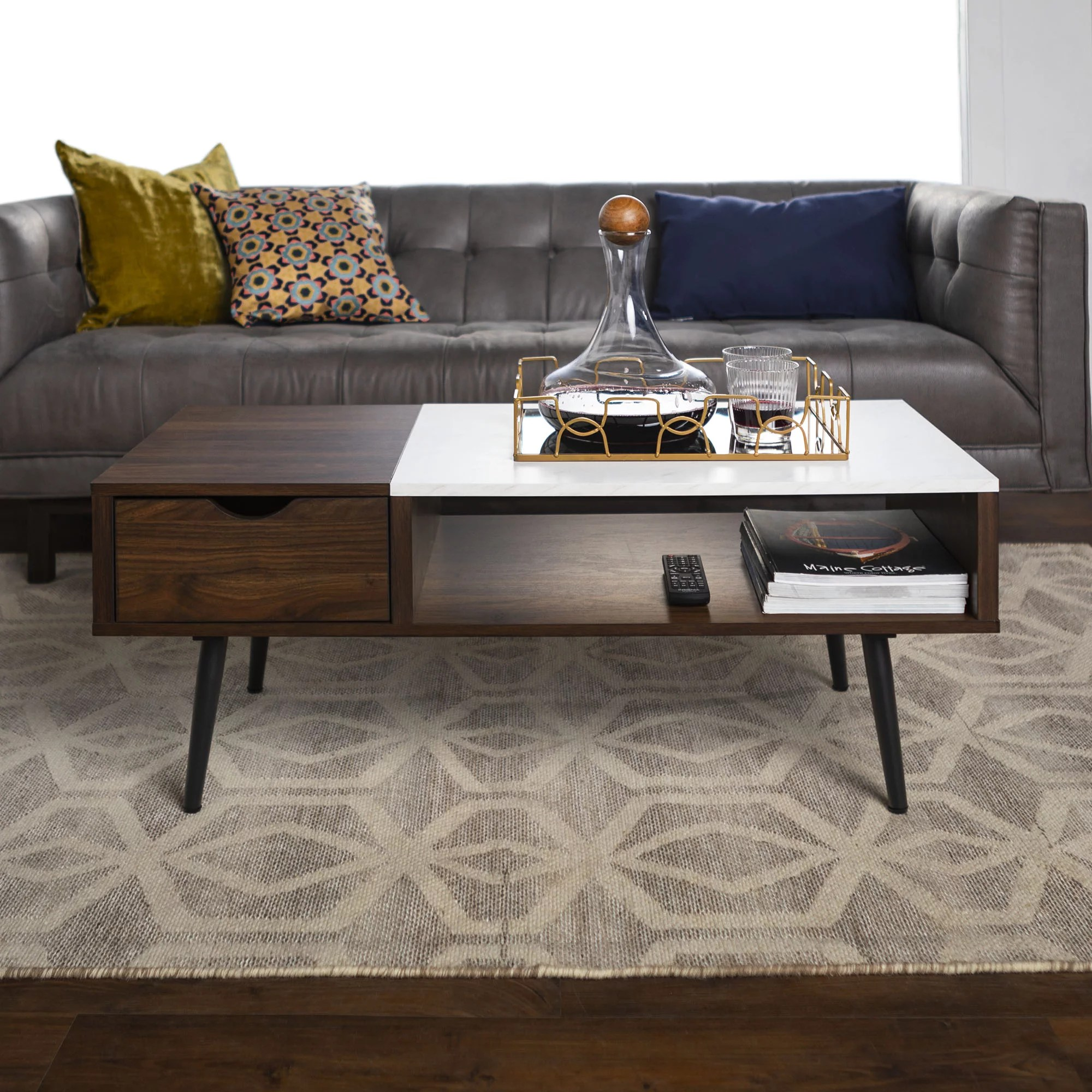 booker dark walnut and faux marble coffee table by bellamy studios walmart com