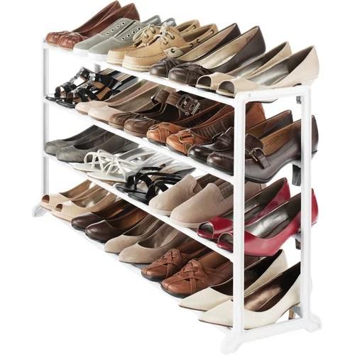 Whitmor Floor Shoe Stand White 20Pair  Walmartcom