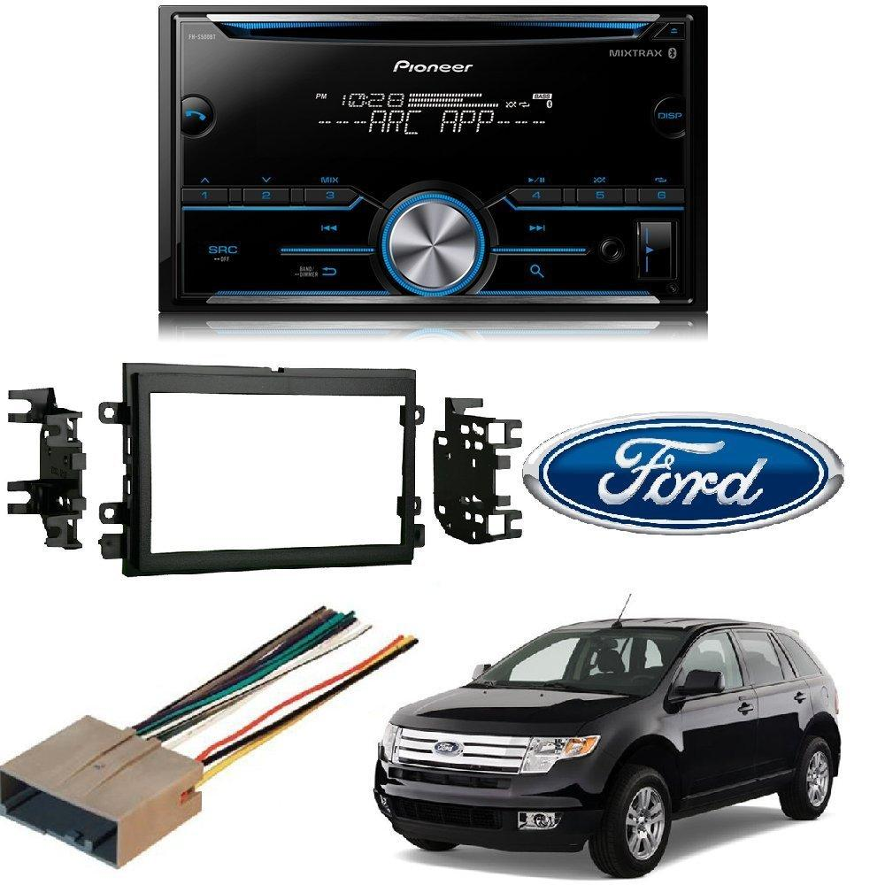 hight resolution of pioneer fh s500bt double din bluetooth in dash cd am fm car stereo receiver w pandora and spotify control double din stereo install kit w wire harness for